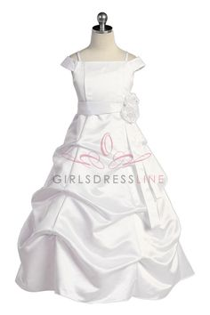 White Satin A-line Pick-up Long Flower Girl Dress with Sleeves - Flower Girl Dresses