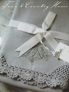Lovely, Embroidered Linens Ꮗ/Tatted Lace~❥ treasur, embroid linen