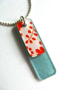 Red and teal Shrinky Dinks necklace.