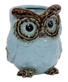 Take a look at this Sky Blue Tall Ceramic Owl Vase by Home Essentials and Beyond on #zulily today!