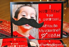 Too cute!  moustach, valentine day cards, valentine cards, valentine ideas, homemade valentines, little boys, mustach valentin, crafts, kid
