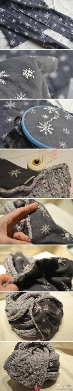 Backing a wool scarf with old embellished flannel--how about an old felted sweater backed by flannel...
