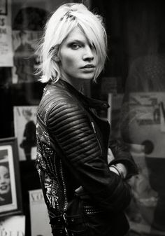 Black moto jacket and platinum blonde hair = perfect black and white moment.
