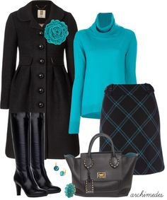 """""""Black and Teal"""" by archimedes16 on Polyvore"""
