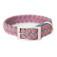Barcelona Mar L Gray Red by KISS MY MUTT braid collar, gray red, mars, dog collars, pet, barcelona mar, mutt, kisses, braid dog