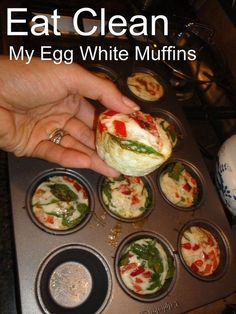 Healthy Breakfasts / Egg White Muffins. Just made the mini version of this with spinach, tomatos, mrs dash very spicy, cheese (.. & little bit of bacon =X)  so good !