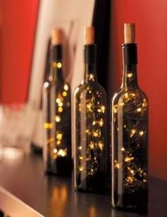 Battery-powered strings of lights stuffed into empty wine bottles make great decorations.