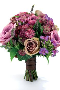 Hand-tied bouquet of 'Cool Water' and 'Amnesia' roses, astrantia, phlox, heuchera, mint and ivy by Scarlet & Violet