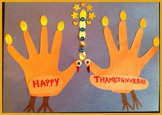 Happy Thanksgivukkah! Celebrate with this fun Menurkey (menorah turkey) craft! The best of Thanksgiving and Hanukkah combined in one handprint craft!