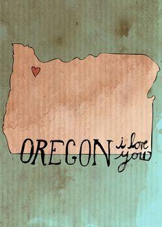 Oregon, I Love You - 5 x 7 Illustration Print. $10.00, via Etsy.