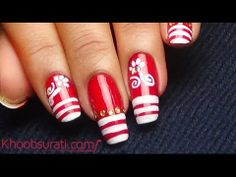 Easy Red and White Nail Art By khoobsurati.com