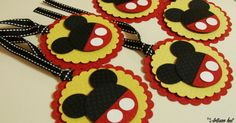 Mickey Mouse Favor/gift tags - 12 per pack - Handmade