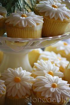 Daisy cupcakes. i love daisies :)