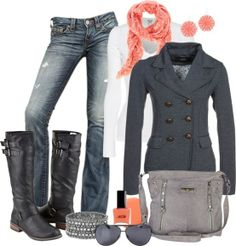 coral and grey for winter..