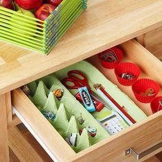 organizing drawers, drawer organization, egg cartons, egg carton ideas, drawer dividers