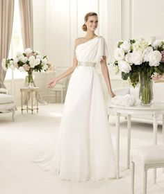 Beautiful one shoulder wedding dress by Pronovias