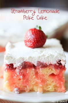 Recipe For Strawberry Lemonade Poke Cake - The layered cake is beautiful, but a poke cake is so easy to store in the refrigerator and take to parties.