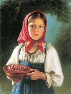 Russian costume in painting. V.T.Timofeev. Girl with Berries. 1879. #art #painting #Russia #Russian