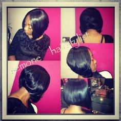 full head sew in bob weave | sew-in weave bob - Mobile Hairdressers London