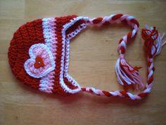 Crochet Valentine Earflap Beanie Hat - Picture Idea
