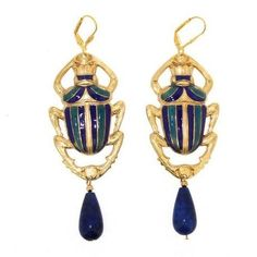 Gold Enamel Lapis Scarab Earrings by Jess Lelong at Hirst Antiques