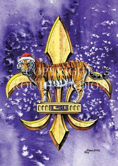 LSU Tiger & Fleur-de-lis Fleur de lis Tiger - Christmas Art print