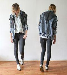 Romwe Denim Jacket, Monki Denim Shirt, Topshop Grey Jeans, Dr. Martens Shoes