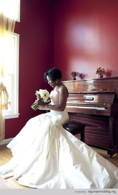 African Bride ~  #African #American #bride #gown #bouquet  wedfunapps.com @WedFunApps.com ♥'d