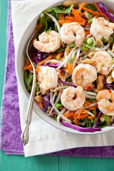 Pad Thai Salad with Ginger Lime Shrimp by annieseats #Salad #Pad_Thai #Shrimp #Ginger #Lime #Healthy