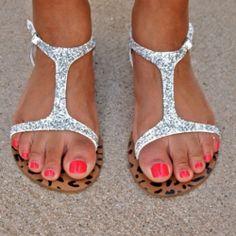 DIY Glitter Sandals