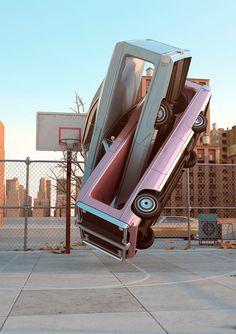 Auto Aerobics by Chris LaBrooy illustration digital cars