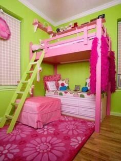 Via hgtv.com on Indulgy.com little girls, bunk beds, green, loft, kid rooms, reading nooks, bedrooms, little girl rooms, bright colors