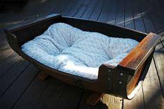 Reclaimed Wine Barrel Dog Bed, $549