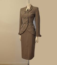 Bombshell Vintage 40's Lilli Ann Suit Fitted Jacket Skirt