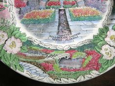 Decorative Dishes - Transferware Green Pink Blue Alabama Gardens Vintage Souvenir Plate England, $34.99 (http://www.decorativedishes.net/transferware-green-pink-blue-alabama-gardens-vintage-souvenir-plate-england/) souvenir plate, vintag souvenir, pink blue