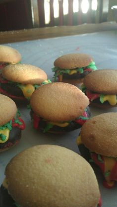 Krabby patties for a spongbob cake Vanilla wafers and frosting
