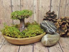 Miniature Tree raku fired ceramic Tree of Life Customizable Moss Terrarium miniature garden fairy garden accessory - Handmade by Gypsy Raku on Etsy, $35.00