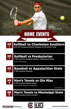 Home events this week, including the final home matches of the season for South Carolina Men's Tennis. Let us know in the comments where you'll be cheering on your Gamecocks!