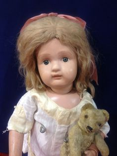 "Large Wood Schoenhut Doll Original Paint Great Condition 22"""