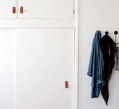 Gorgeous leather DIY handle from The Brick House diy ideas, pull handl, brass pull, decor detail, design diy, detail interior, diy home, brick hous, door handles