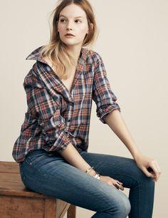 Madewell Plaid Boyshirt and the Skinny Skinny jeans.