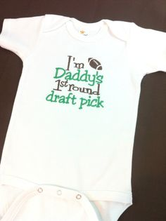 Baby Boys or Girls Bodysuit - Outfit - Creeper - Baby Shower Gift - Baby Clothing - Football - Sports - Daddys First Round Draft Pick