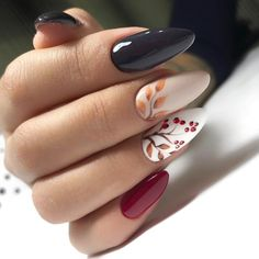 Autumn nails, Black glossy nails, Colorful nails, Drawings on nails, Interesting nails, Leaves nails, Red nail art, White nails with pattern