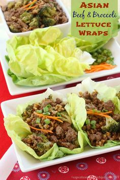 Asian Beef and Broccoli Lettuce Wraps are a quick, easy, healthy weeknight meal or fun appetizer   cupcakesandkalechips.com   #glutenfree