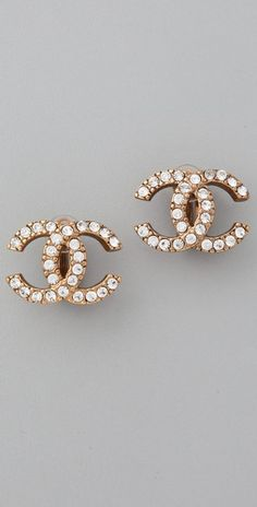 Vintage Chanel CC Crystal Earrings