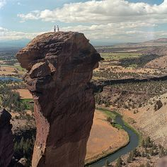 """This is """"Monkey Face"""" in Smith Rock State Park, Central Oregon.  If you look closely you can see the climbers on top. Smith Rock is a world class rock climbing destination! Enlarge for a charge..."""