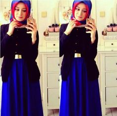 Gold belt and royal blue maxi skirt <3