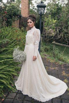 Victorian Inspired long sleeved wedding dress