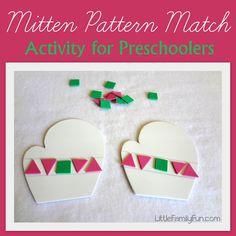 Simple and fun activity for preschoolers! Mitten Pattern Match. craft, preschool