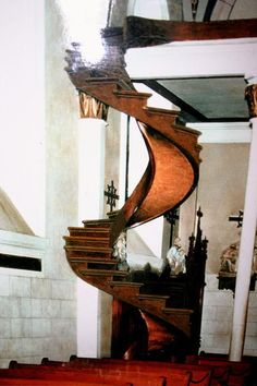 The Miracle Loretto Chapel Staircase in Santa Fe, NM before the safety rail was installed